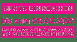 Spots einreichen bis zum 5.2.2021: Radio Advertising Award mit Sonderauszeichnung