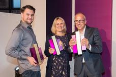 Gewinner Best Creative Activation und Best Storytelling: Kamil Wojciechowski (Studio Funk), Claudia Dreismann (Lufthansa), Andreas Winter-Buerke (Kolle Rebbe)