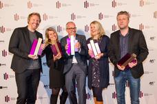 Gewinner Best Creative Activation und Best Storytelling: Fabian Frese (Kolle Rebbe), Benita Struve (Lufthansa), Andreas Winter-Buerke (Kolle Rebbe), Claudia Dreismann (Lufthansa), Torsten Hennings (Studio Funk)