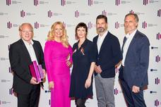 Lutz Kuckuck (Radiozentrale), Barbara Schöneberger, Britta Poetzsch (Jurypräsidentin, Track), Oliver Adrian (AS&S Radio), Matthias Wahl (RMS)